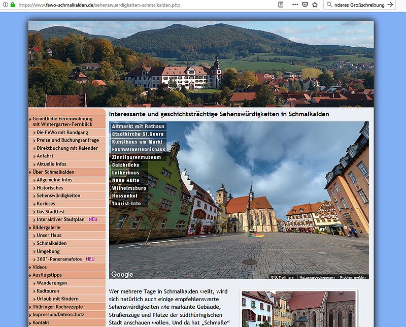 Ein virtueller Rundgang mit über 50 Panorama-Fotos durch die Thüringer Fachwerkstadt Schmalkalden